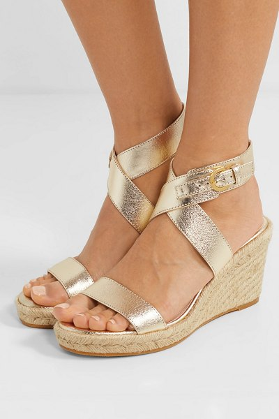 Stuart Weitzman lexia metallic textured-leather espadrille wedge sandals in gold