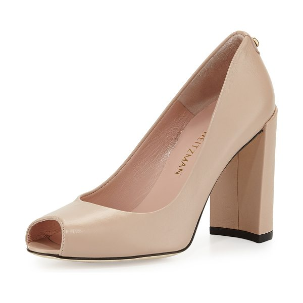 "Stuart Weitzman Lille leather peep-toe pump in adobe - Stuart Weitzman napa leather pump. 4. 8"" covered heel...."