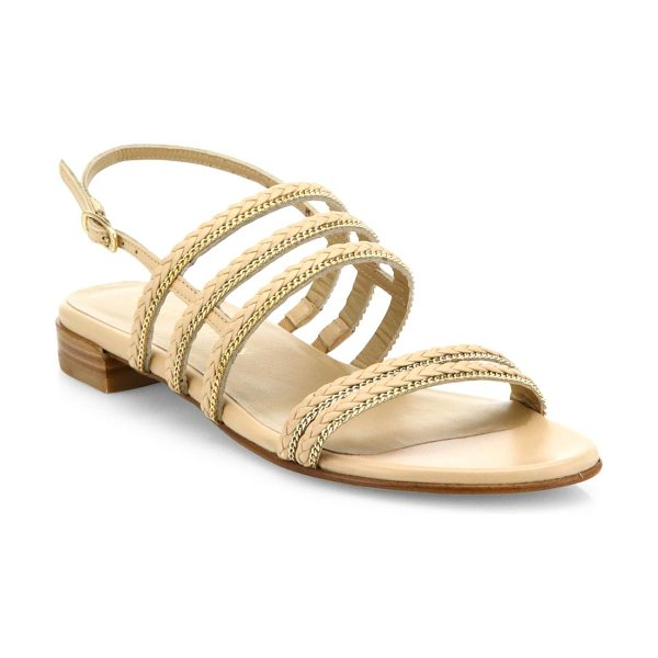 Stuart Weitzman linedrive braided leather & chain slingback sandals in beige - Braided leather slingback sandal with chain trim....