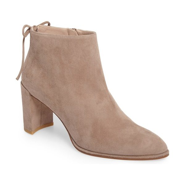 Stuart Weitzman lofty bootie in haze suede - A slim back bow provides a graceful flourish for a...