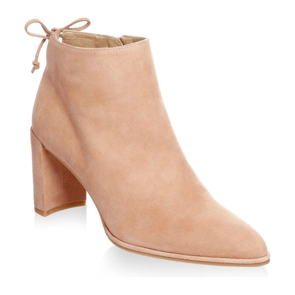 Stuart Weitzman lofty suede block heel booties in naked - Suede block-heel bootie with back ankle tie....