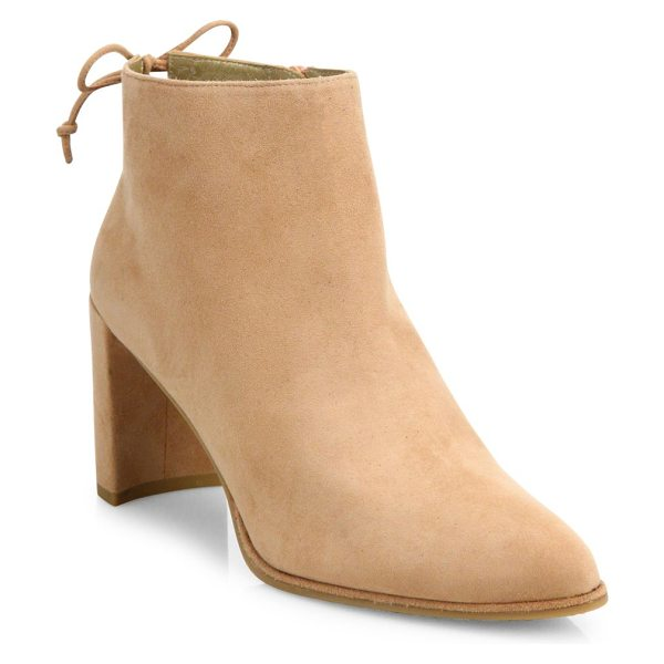 Stuart Weitzman lofty suede block heel booties in naked - Brushed suede block-heel bootie with back ankle tie....