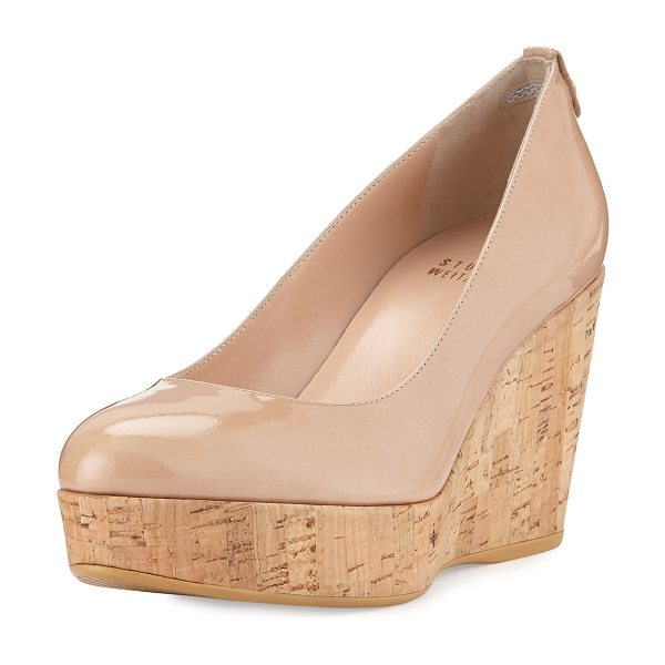 "Stuart Weitzman Logoyork Patent Wedge in adobe - Stuart Weitzman patent leather wedge pump. 3.5"" cork..."