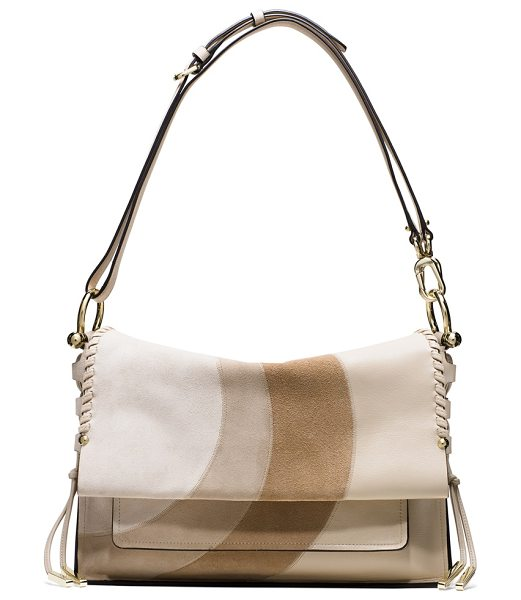 Stuart Weitzman Lola in sand circles multi - Crafted from ultra-luxe leather, this chic flap bag...