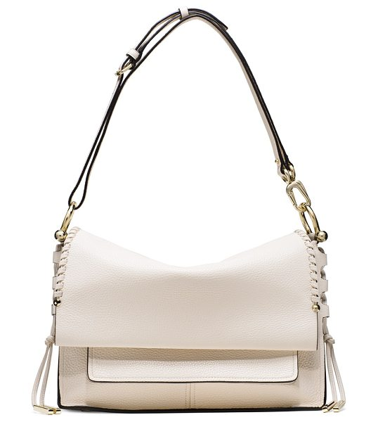 STUART WEITZMAN Lola in parchment grain lux - Crafted from ultra-luxe leather, this chic flap bag...