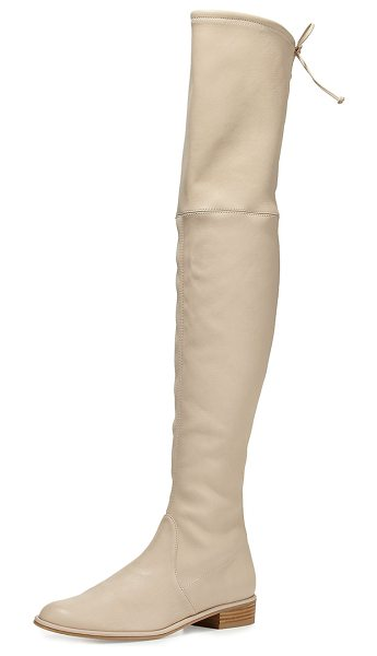 "Stuart Weitzman Lowland Leather Over-the-Knee Boot in light beige - Stuart Weitzman napa leather over-the-knee boot. 24""H..."