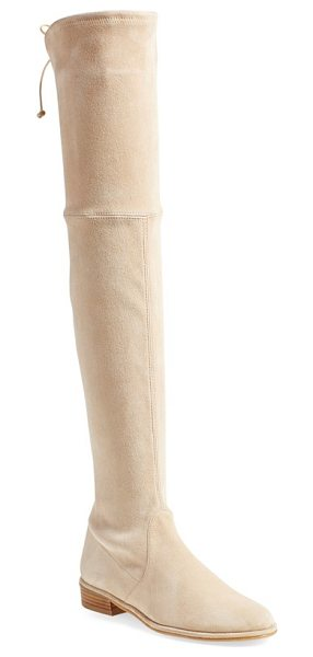 Stuart Weitzman 'lowland' over the knee boot in buff suede - A single slim lace cinches the back of a luxe...