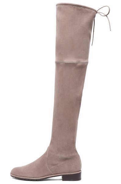 STUART WEITZMAN Lowland Suede Boots in taupe - Suede upper with rubber sole. Made in Spain. Shaft...