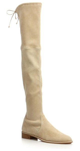 Stuart Weitzman Lowland suede over-the-knee boots in buff - Leg-lengthening suede boot cinched with slim back...
