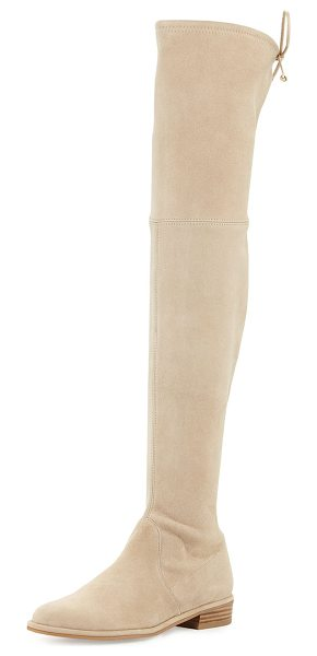 "Stuart Weitzman Lowland Suede Over-the-Knee Boot in buff - Stuart Weitzman suede over-the-knee boot. 24""H stretch..."