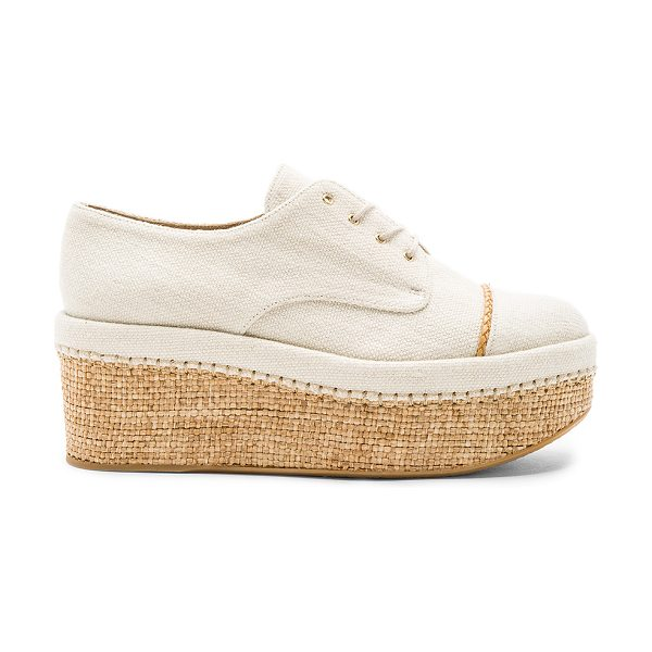 Stuart Weitzman Mantra Platform in cream - Canvas upper with rubber sole. Lace-up front. Woven jute...