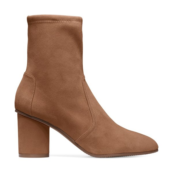 Stuart Weitzman Margot 75 in basket brown suede - Sock booties are year-round fashion fixtures, and the...
