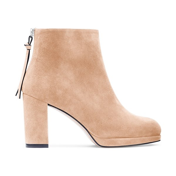 Stuart Weitzman Martine in adobe beige suede - The Martine booties, available in leather and suede, are...