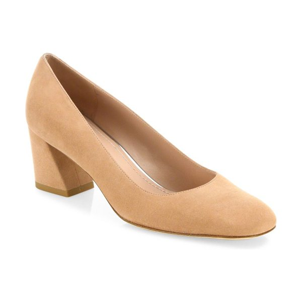 Stuart Weitzman marymid suede block-heel pumps in naked - Suede square-toe pump set on angled block heel....