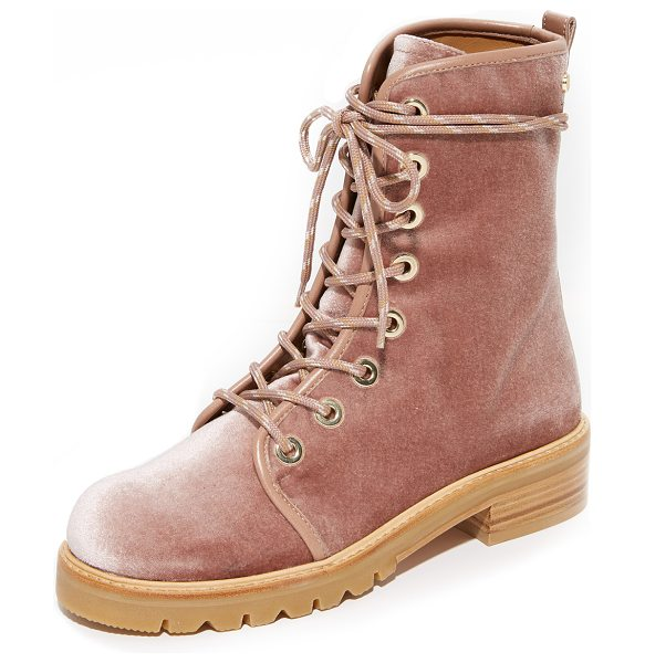 Stuart Weitzman metermaid combat boots in candy - Pretty, pastel velvet adds a charming, feminine update...