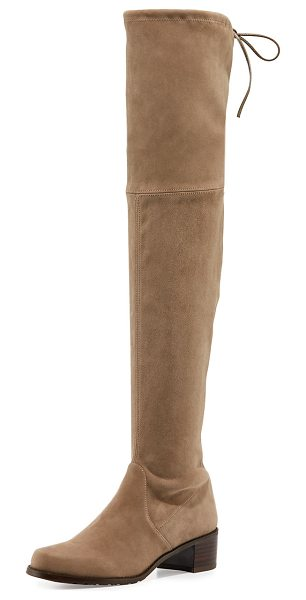 "Stuart Weitzman Midland Suede Over-the-Knee Boot in medium beige - Stuart Weitzman suede over-the-knee boot. 24.3""H stretch..."