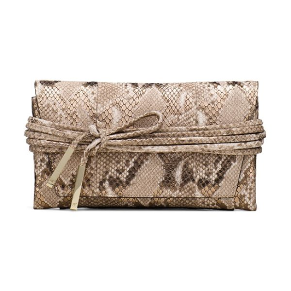 Stuart Weitzman Miniblacktie in gold metallic python embossed leather - This must-have mini clutch fuses fashion and function....
