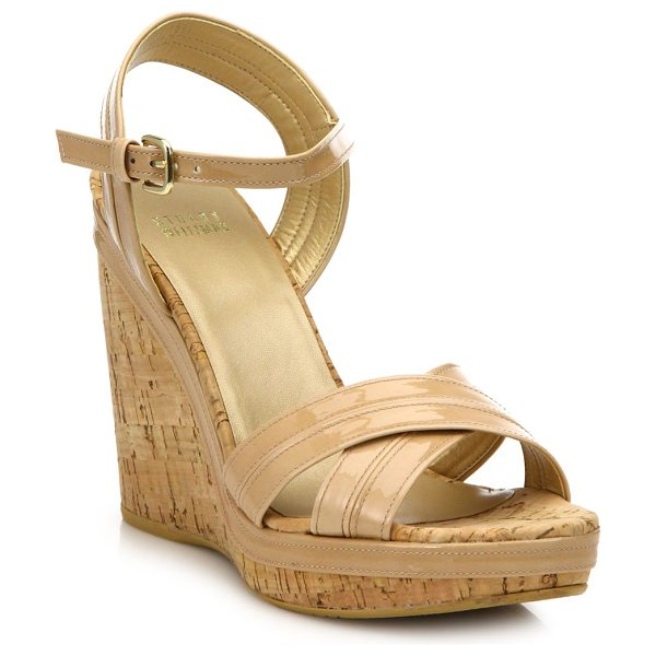 Stuart Weitzman Minky patent leather cork wedge sandals in tan - Patent crisscross sandal set on cork wedge heelCork...