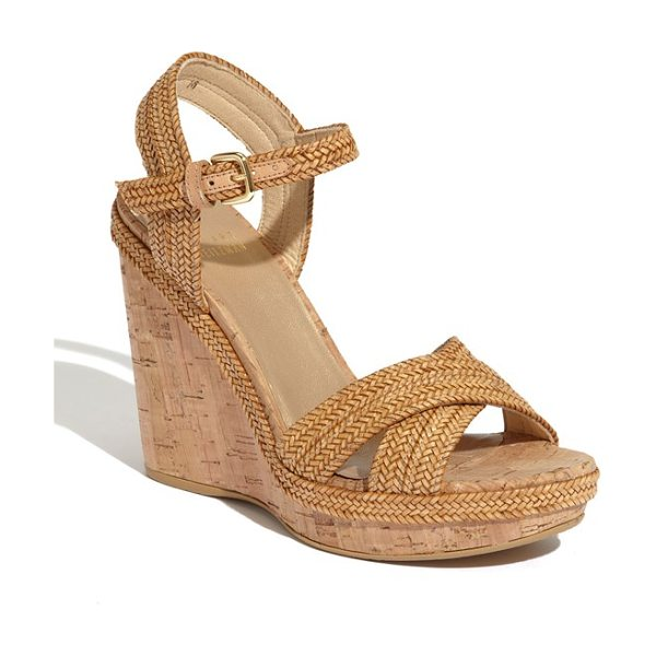 Stuart Weitzman 'minx' espadrille in camel laniard - Lanyard braid lends interest to a cross-strap sandal...