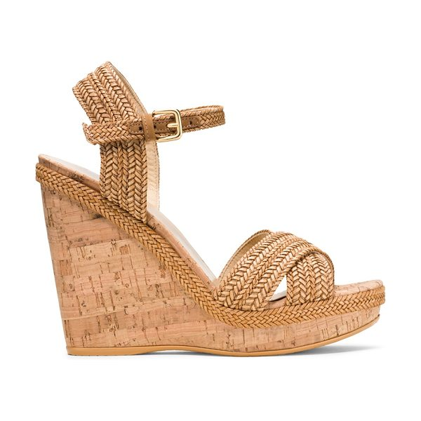 Stuart Weitzman Minx in camel brown laniard - This neutral-hued, wear-with-anything cork-heeled wedge...