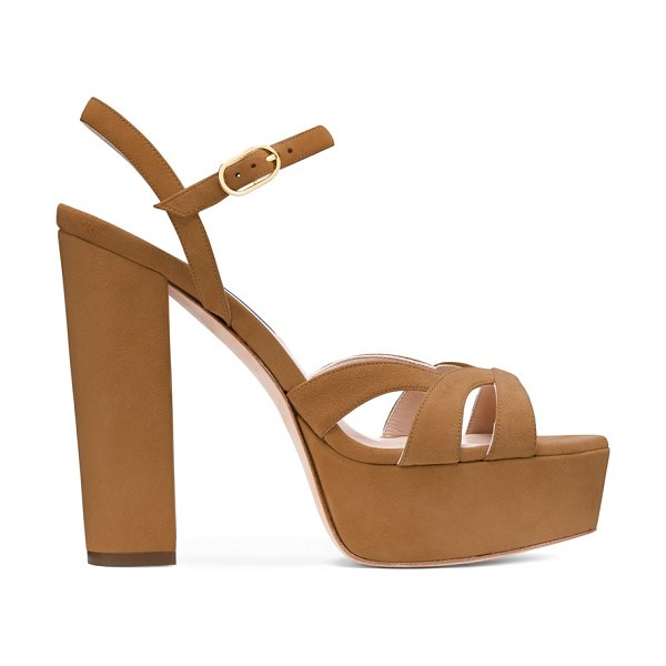 Stuart Weitzman misty platform in camel brown suede