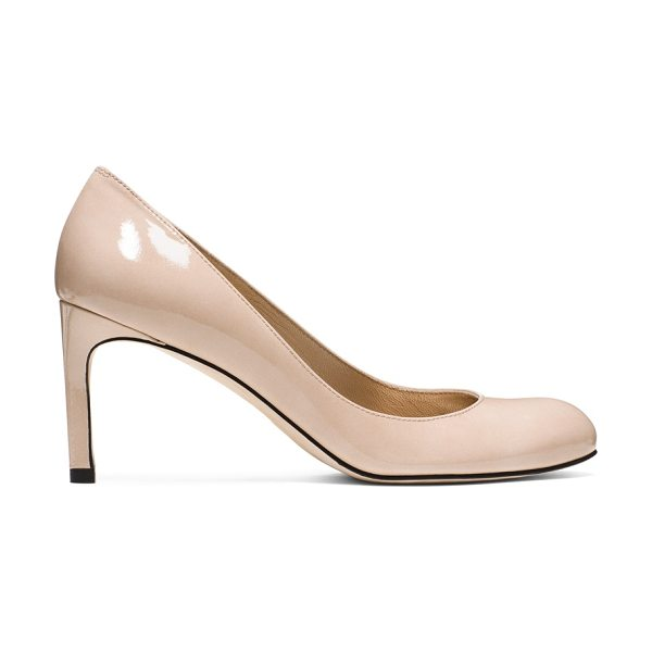 Stuart Weitzman Moody in beige patent - Rule the boardroom and beyond in pumps with panache:...