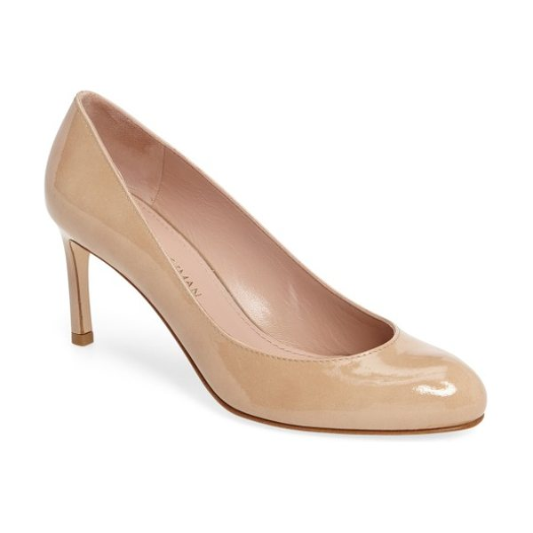 Stuart Weitzman moody round toe pump in bambina aniline patent - A rounded toe and a low topline distinguish an essential...