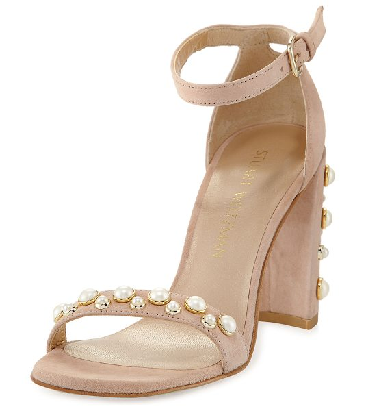 STUART WEITZMAN Morepearls Suede Block-Heel Sandal in bisque - Stuart Weitzman suede d'Orsay sandal with pearly studs....
