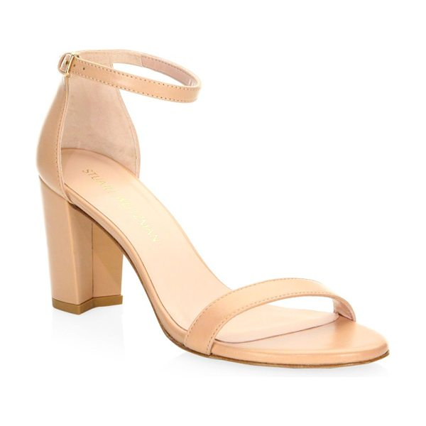 Stuart Weitzman nearlynude block-heel leather sandals in beige