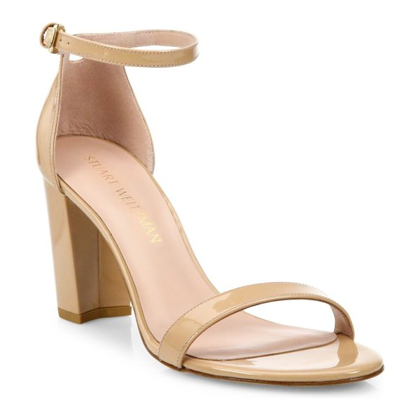 Stuart Weitzman nearlynude block-heel patent leather sandals in adobe analine