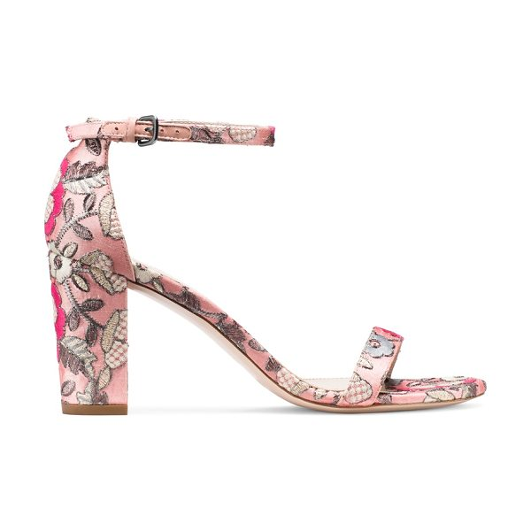 Stuart Weitzman Nearlynude in rose pink embroidered fabric - Classic minimalist sandals are reinvented by way of a...