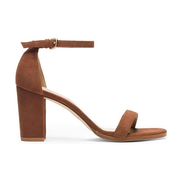 Stuart Weitzman Nearlynude in saddle suede - Classic minimalist sandals are reinvented by way of a...