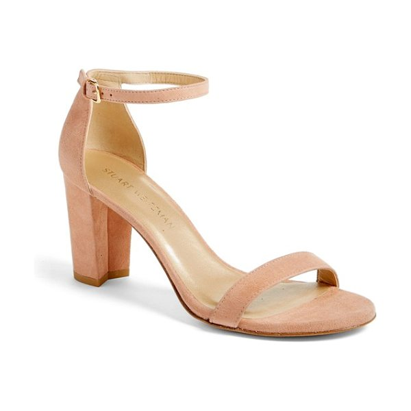 Stuart Weitzman nearlynude ankle strap sandal in naked suede - A slim, demure ankle strap tops a lush suede sandal set...