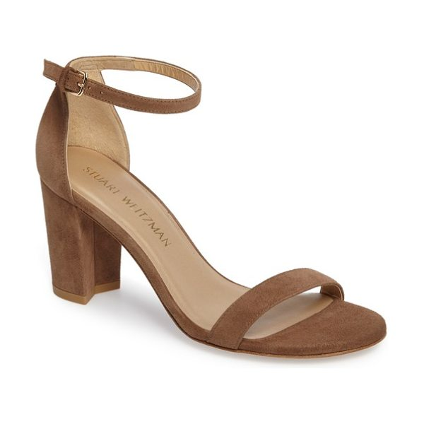 Stuart Weitzman nearlynude ankle strap sandal in nutmeg suede - A slim, demure ankle strap tops a lush sandal set on a...