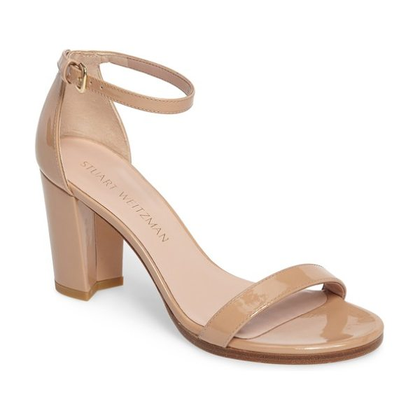 Stuart Weitzman nearlynude ankle strap sandal in adobe aniline - A slim, demure ankle strap tops a lush sandal set on a...