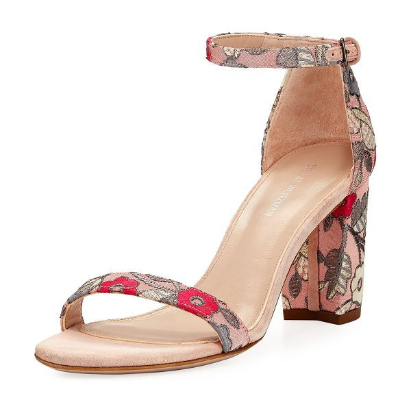 STUART WEITZMAN Nearlynude Blossom Embroidered City Sandal in rose - Stuart Weitzman fabric city sandal in blossom...