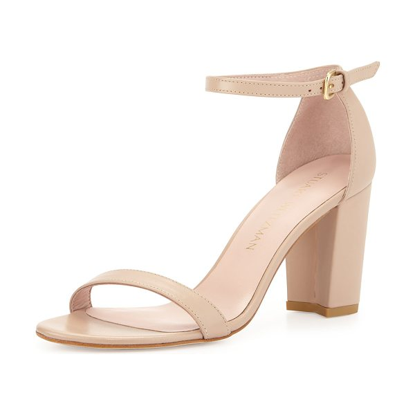 "Stuart Weitzman Nearlynude Leather City Sandal in adobe - Stuart Weitzman napa leather city sandal. 3.2"" covered..."