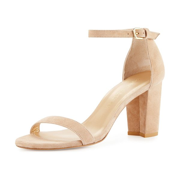 "Stuart Weitzman Nearlynude Suede City Sandal in beach - Stuart Weitzman suede city sandal. 3.3"" covered block..."