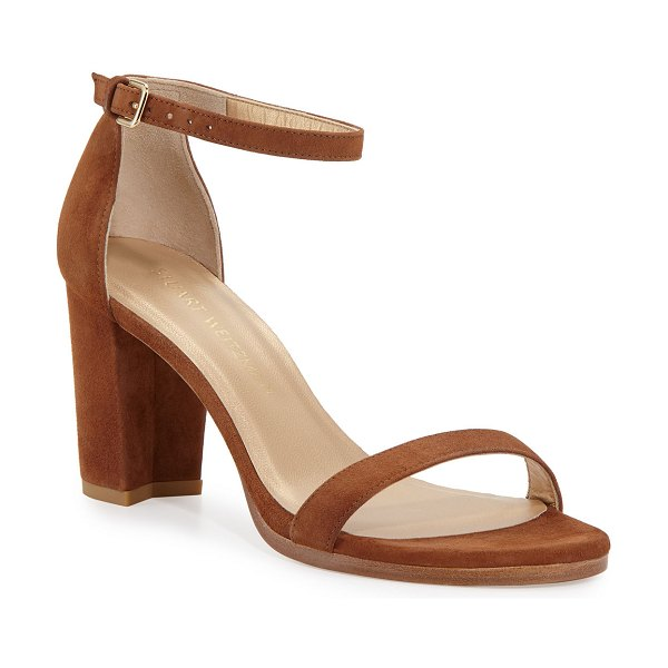 Stuart Weitzman Nearlynude Suede City Sandals in saddle
