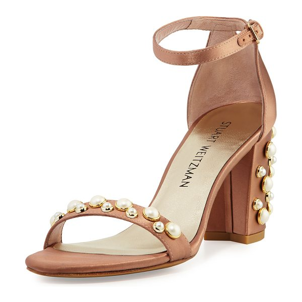 Stuart Weitzman Nearlypearl Embellished Satin Sandal in adobe - Stuart Weitzman satin sandal with pearlescent, studded...