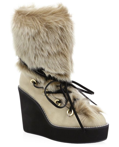 Stuart Weitzman nikita fur-trim suede platform boots in beige - Bold platform boots feature a plush fur lining and a...