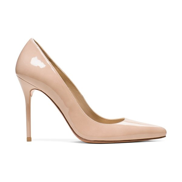 Stuart Weitzman Nouveau in adobe patent - Unequivocally sexy, this powerful statement shoe is one...