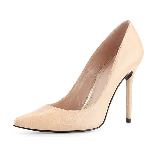 "Stuart Weitzman Nouveau Leather Pump in adobe - Stuart Weitzman kidskin leather pump. 4 1/2"" covered..."