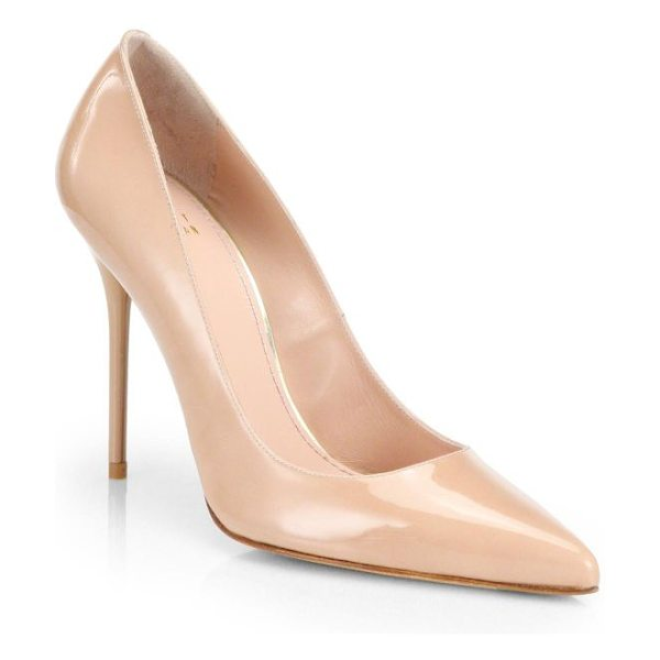 Stuart Weitzman nouveau patent leather point toe pumps in nude - Timeless point-toe pumps rendered in patent leather....
