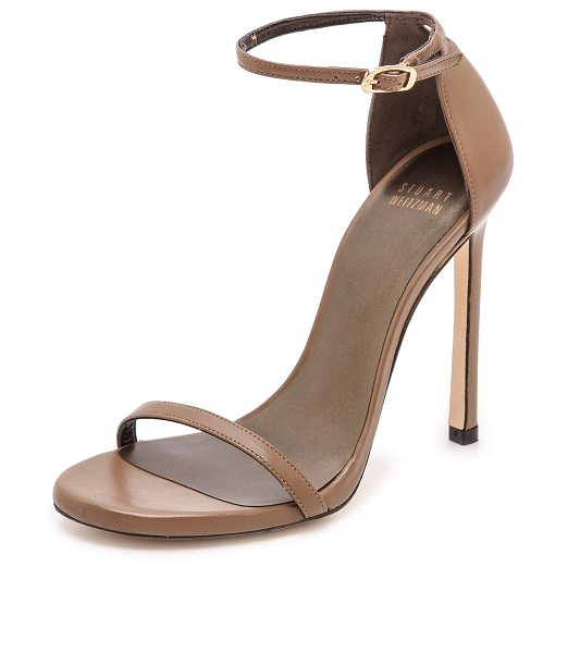 Stuart Weitzman nudist 110mm sandals in truffle - Slim straps lend a delicate feel to leather Stuart...