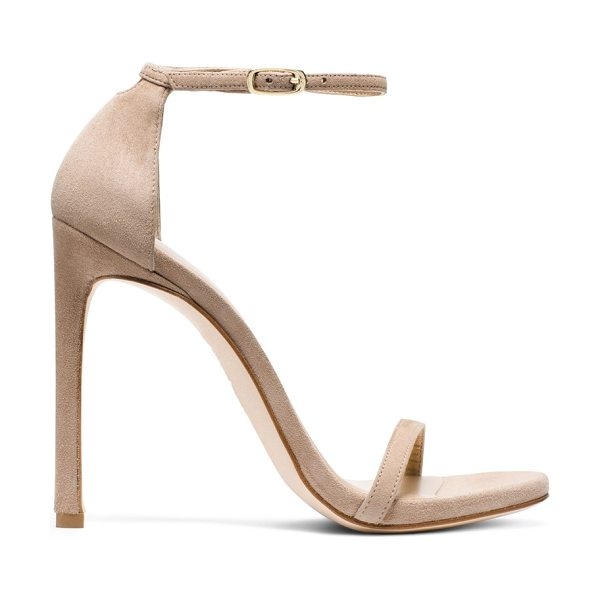 Stuart Weitzman Nudist in mojave beige suede - Hollywood's favorite stiletto. The NUDIST sandals are...
