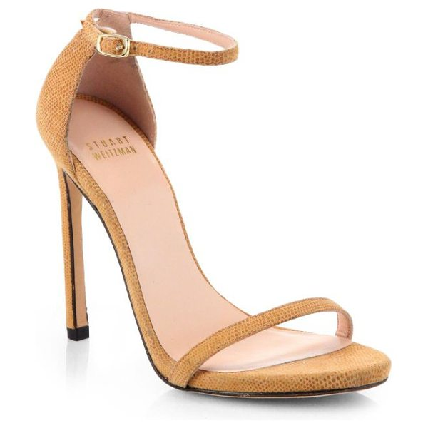 STUART WEITZMAN Nudist goosebump suede sandals - Minimalist, strappy sandals in subtly textured suede are...
