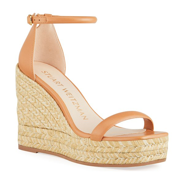 Stuart Weitzman Nudist Leather Espadrille Wedge Sandals in tan
