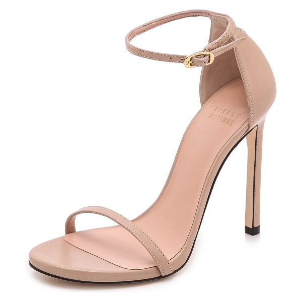 Stuart Weitzman nudist 110mm sandals in adobe - Slim straps lend a delicate feel to classic leather...