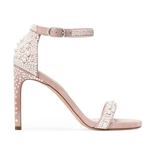Stuart Weitzman Nudist Pearls 95 in dolce taupe suede - Hollywood's favorite stiletto just got even more...
